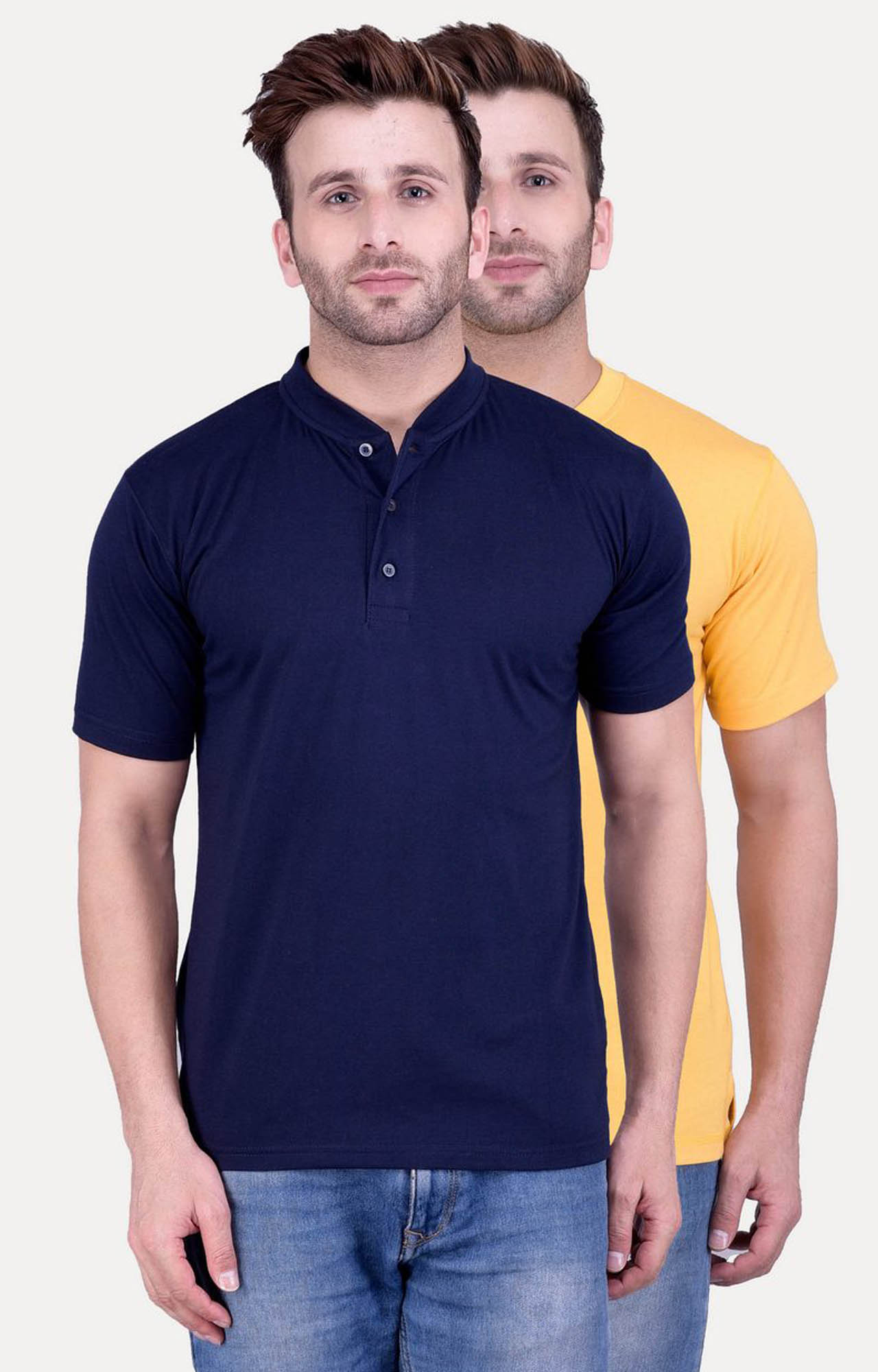 Weardo | Navy and Yellow Solid T-Shirt - Pack of 2