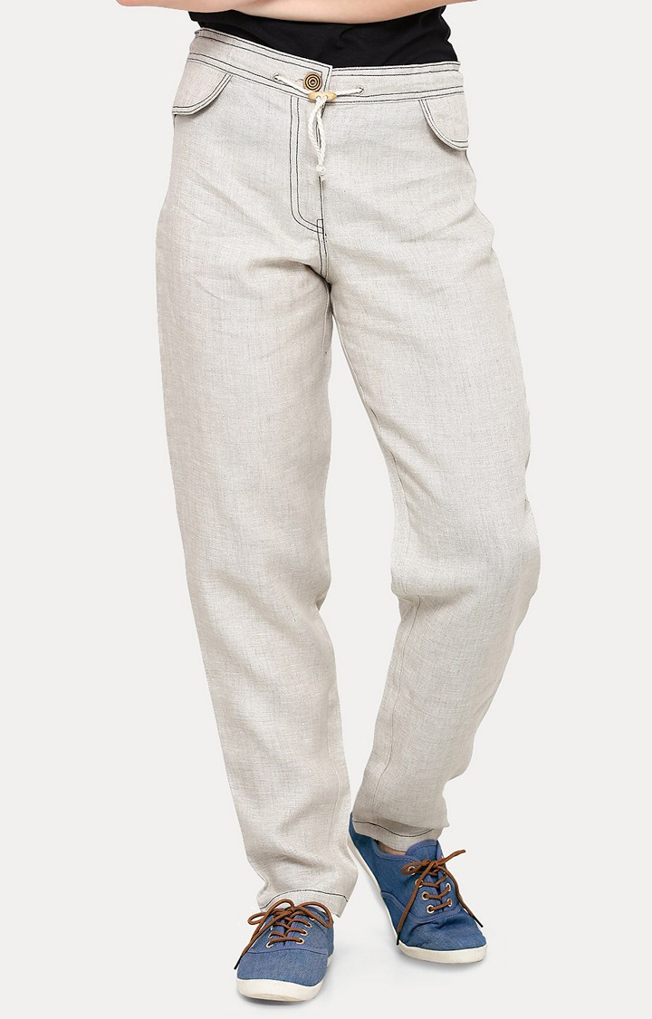 Smarty Pants   Off White Solid Straight Jeans