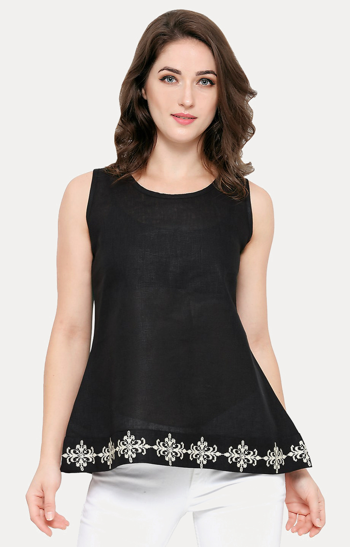 Smarty Pants   Black Solid Top