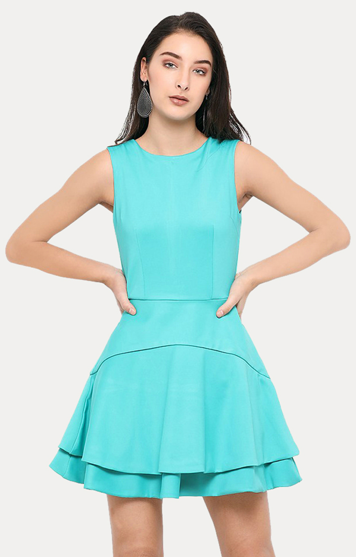 Smarty Pants   Turquoise Solid Skater Dress