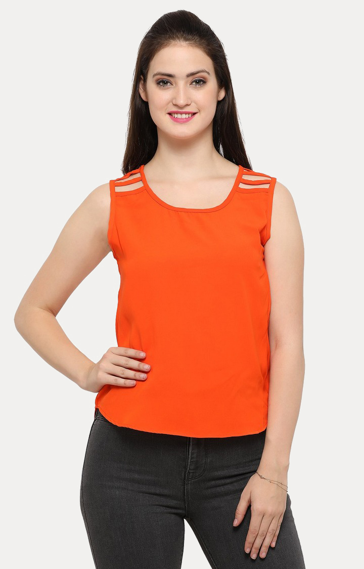 Smarty Pants   Orange Solid Top