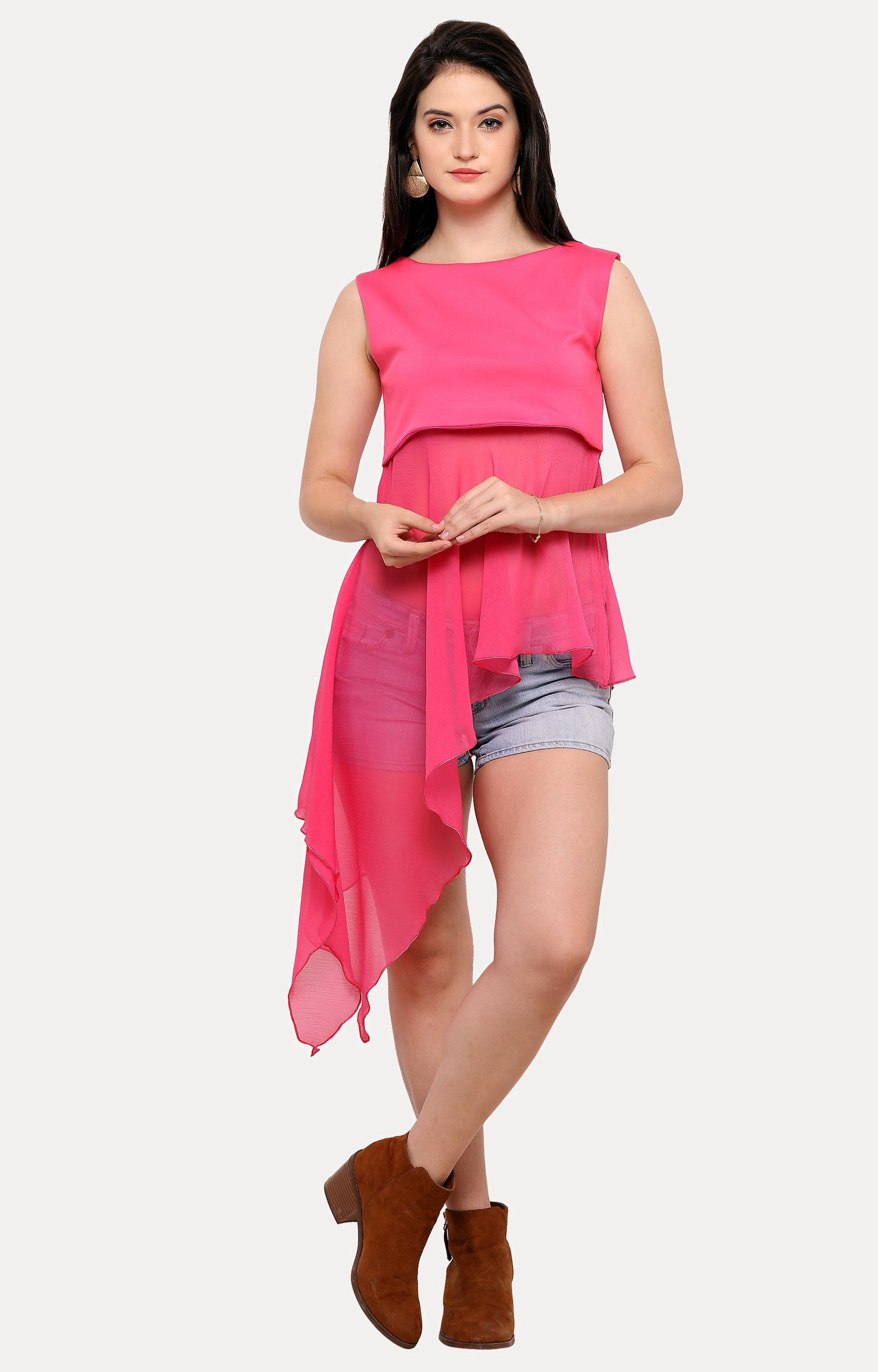 Smarty Pants   Pink Solid Maxi Top