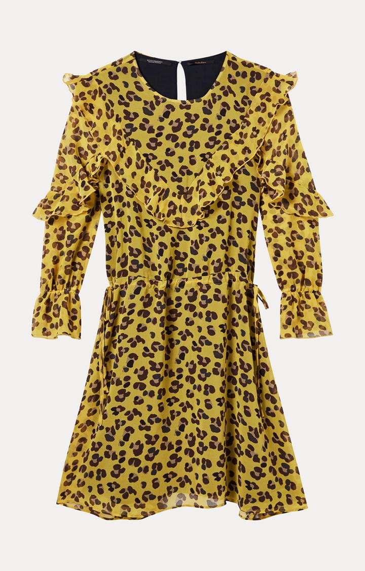 Scotch & Soda   Yellow Printed Skater Dress