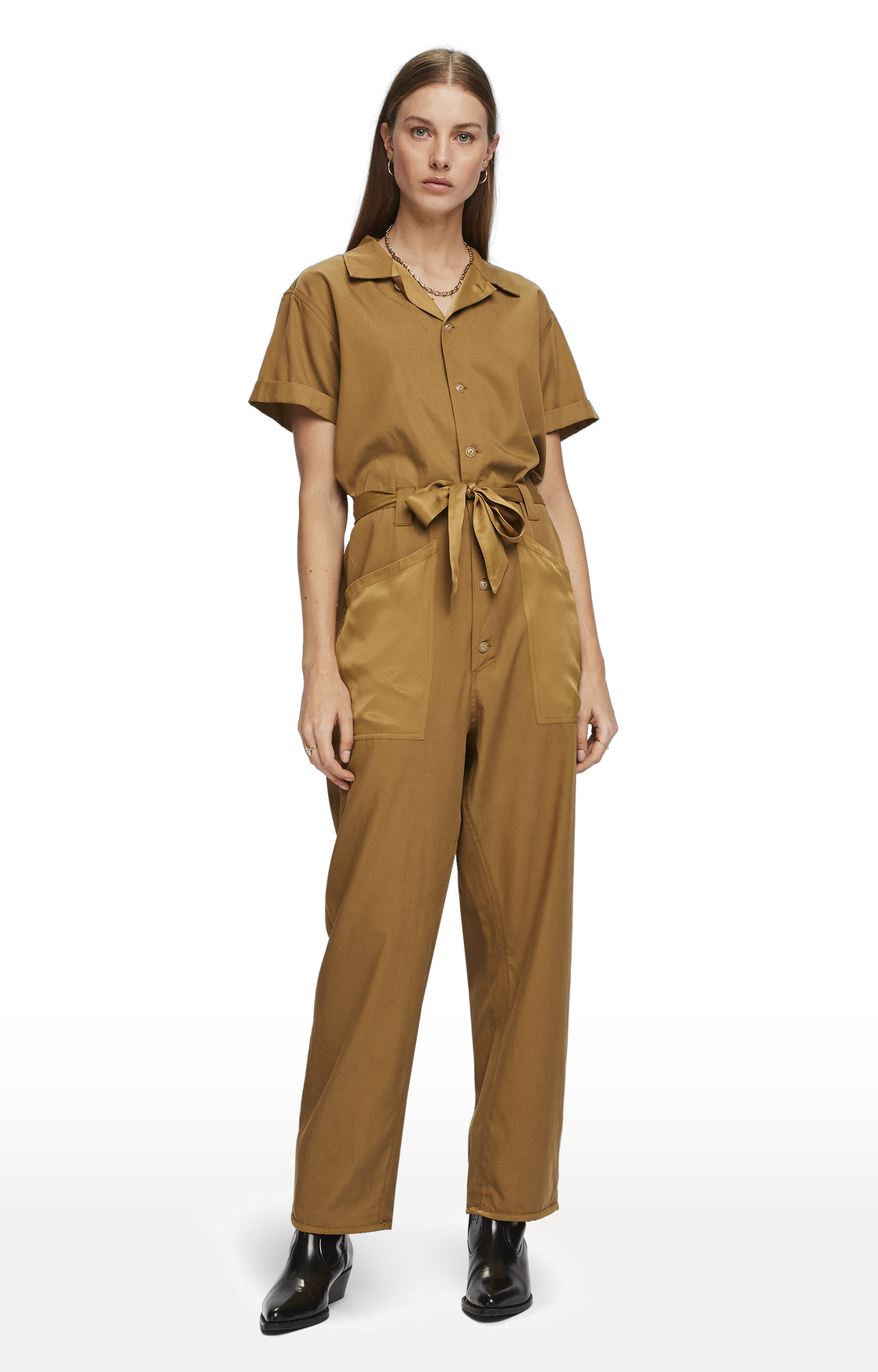 Scotch & Soda | Utility Brown Solid Jumpsuit