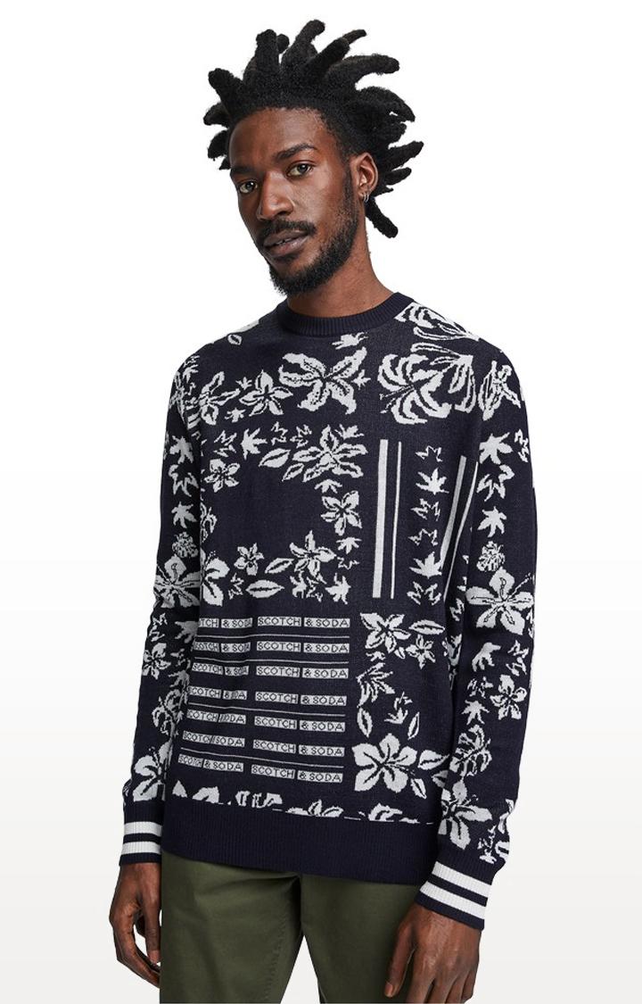 Scotch & Soda | Black Printed Regular Fit Sweatshirt