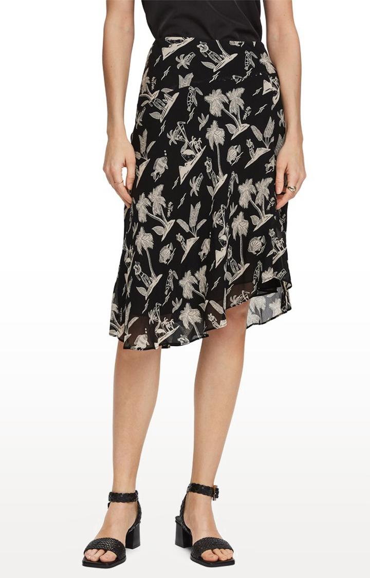 Scotch & Soda | Black Printed Asymmetric Skirt
