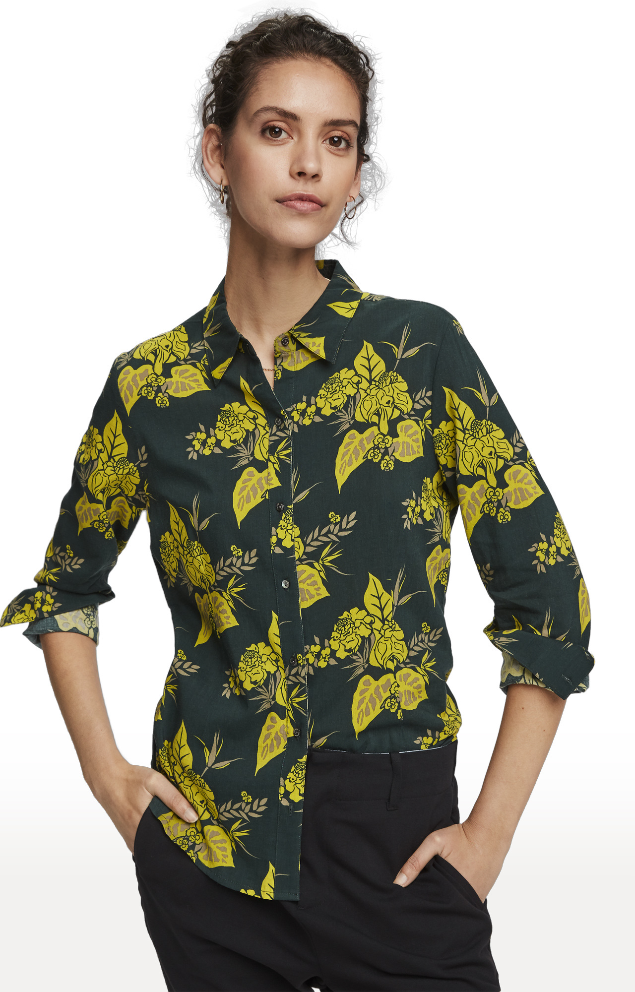Scotch & Soda   Green Smoke Floral Fitted Casual Shirt