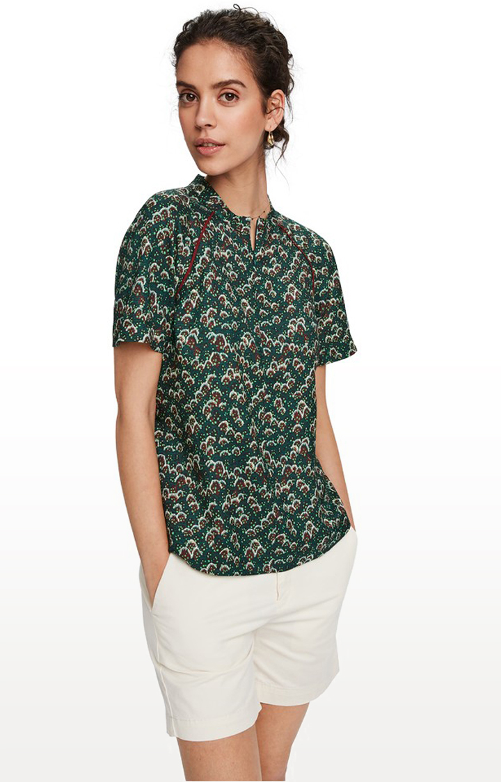 Scotch & Soda | Printed top with piping detail