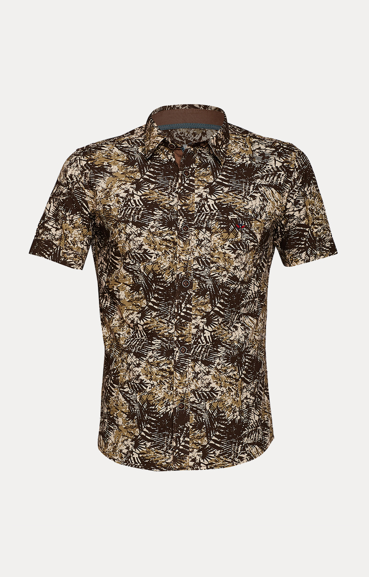 Crimsoune Club | Beige and Brown Floral Shirt