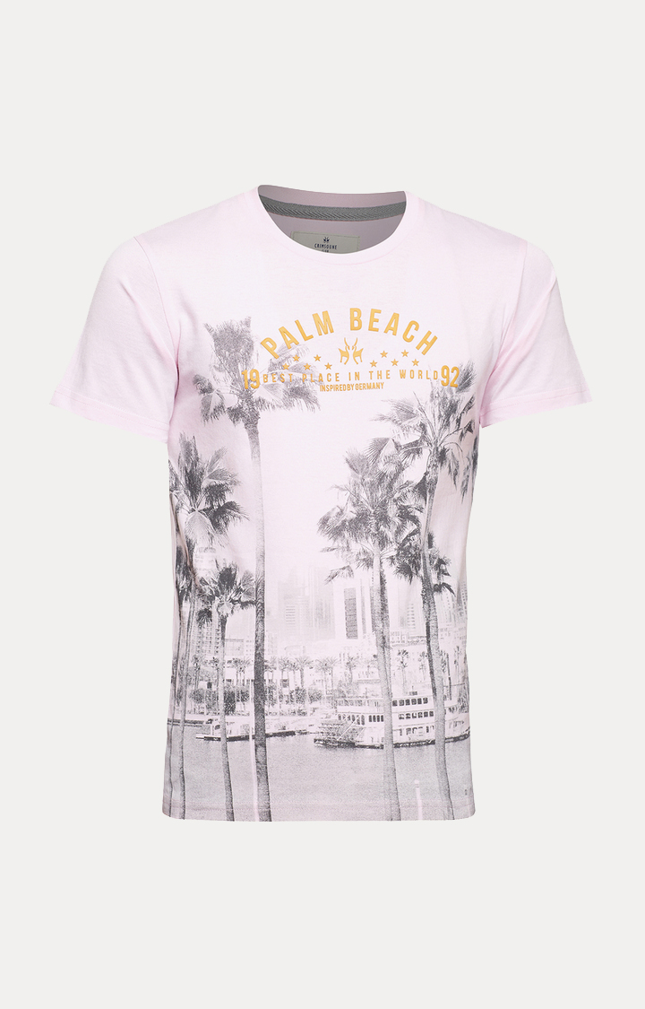Crimsoune Club | Pink Printed T-Shirt