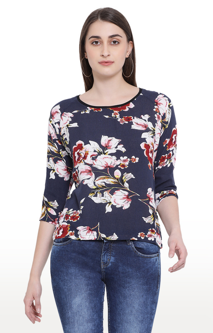 Crimsoune Club   Navy Floral Top