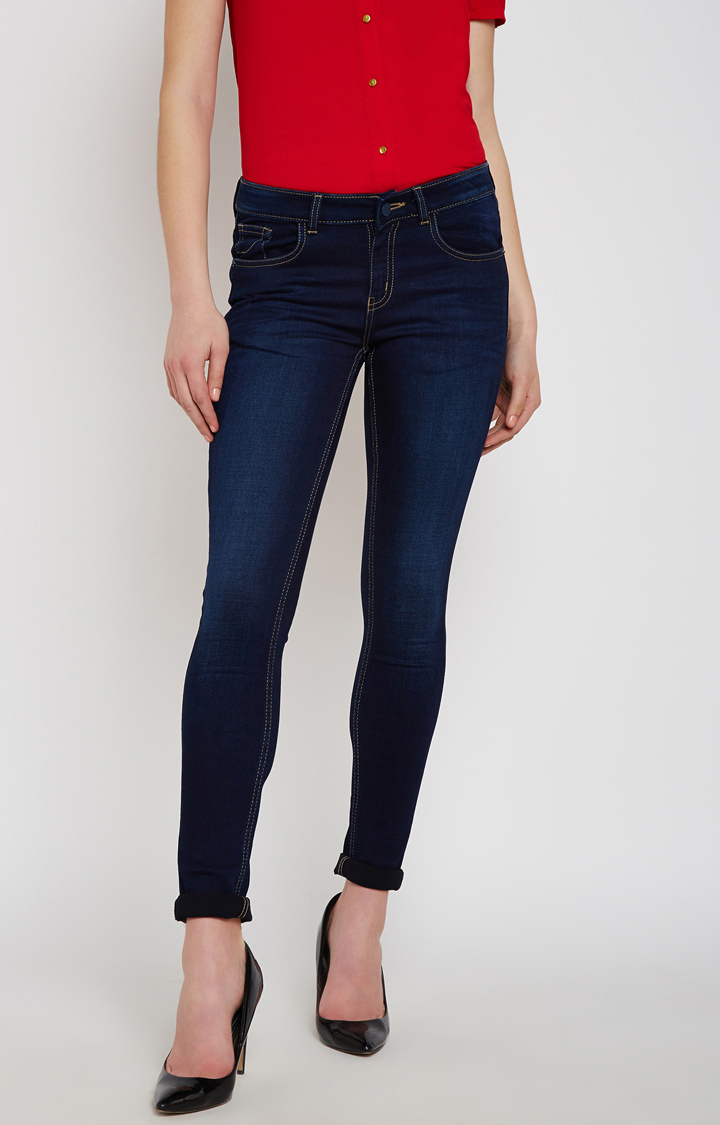 Crimsoune Club | Navy Solid Straight Jeans