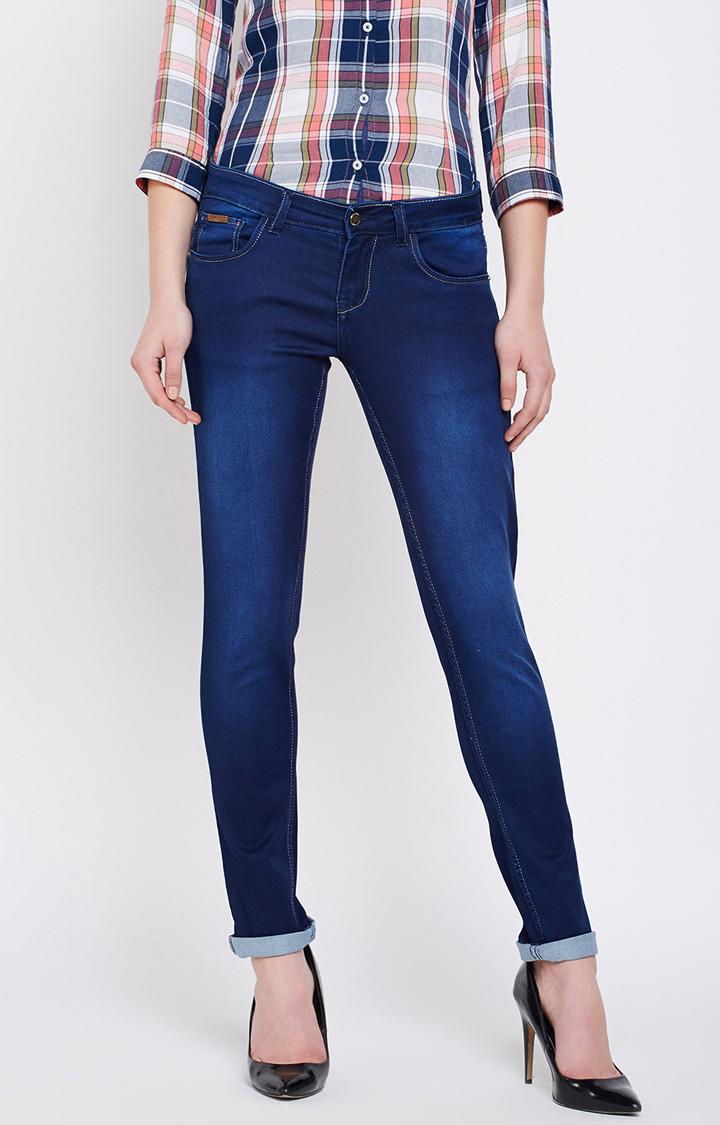 Crimsoune Club   Dark Blue Solid Straight Jeans