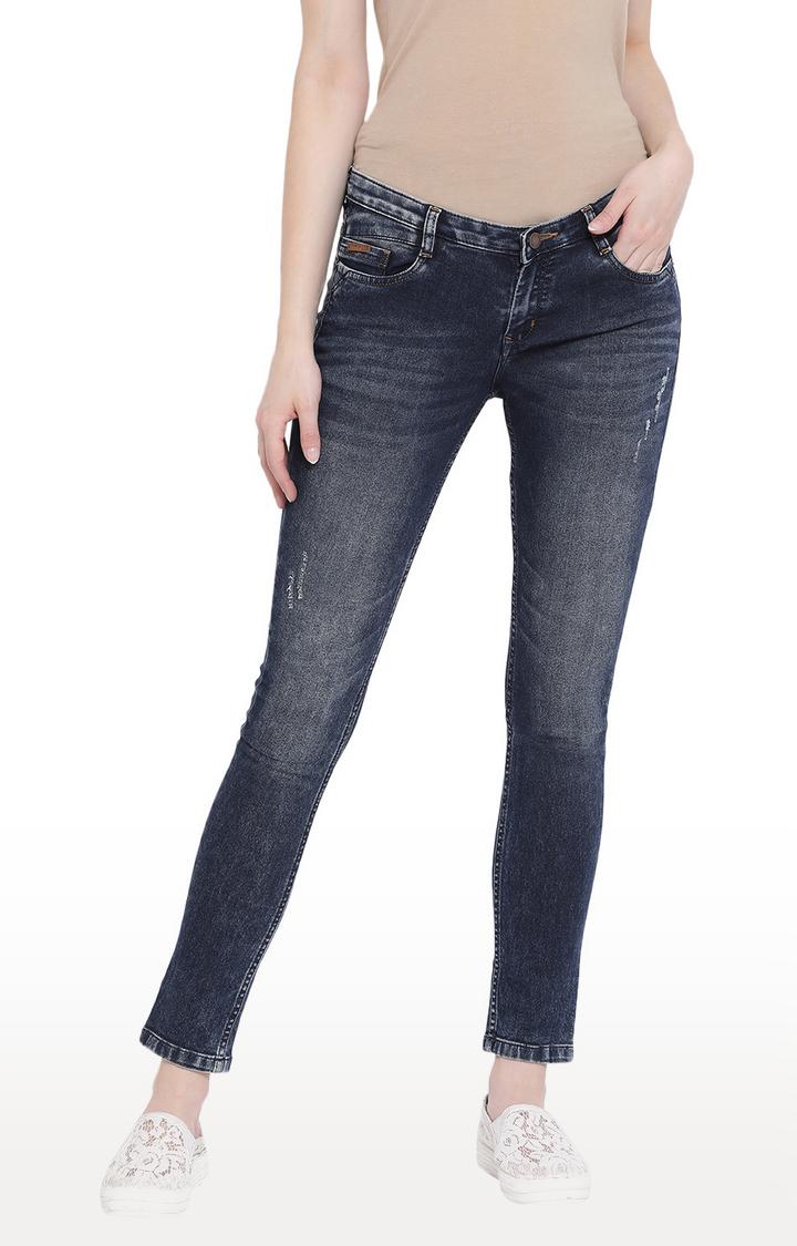 Crimsoune Club | Blue Ripped Slim Fit Jeans