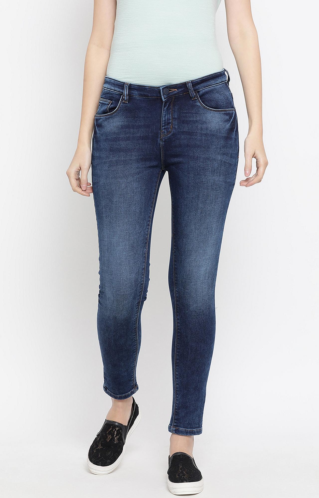 Crimsoune Club   Blue Solid Slim Fit Jeans