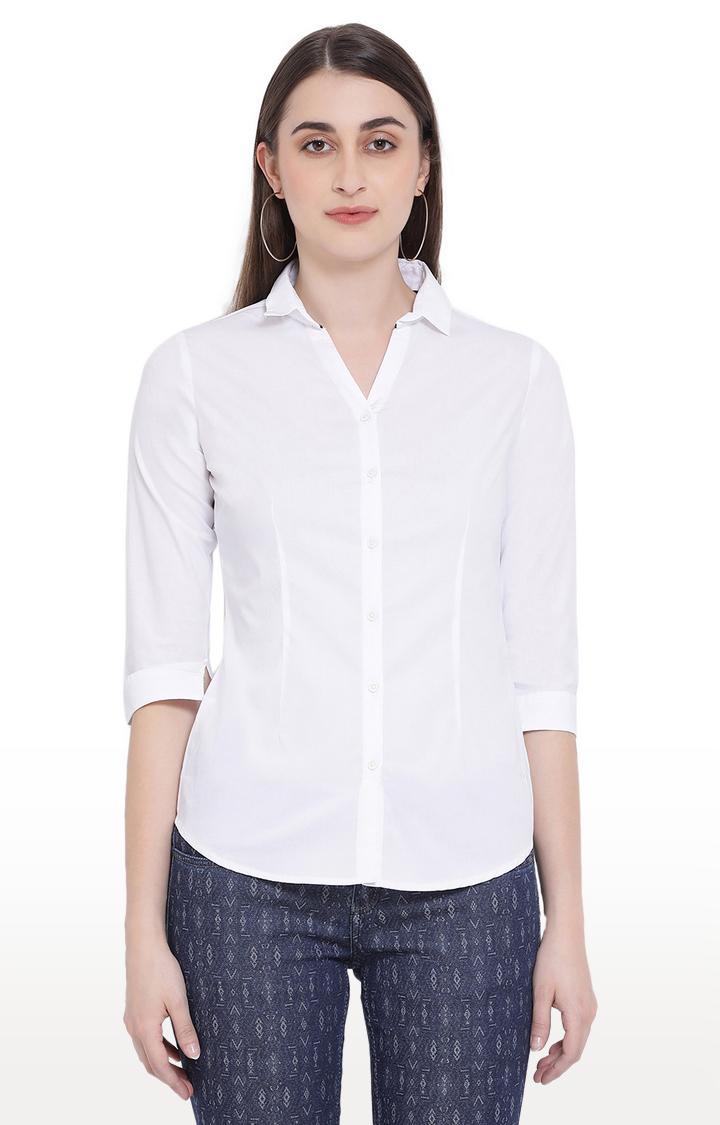 Crimsoune Club | White Solid Casual Shirt