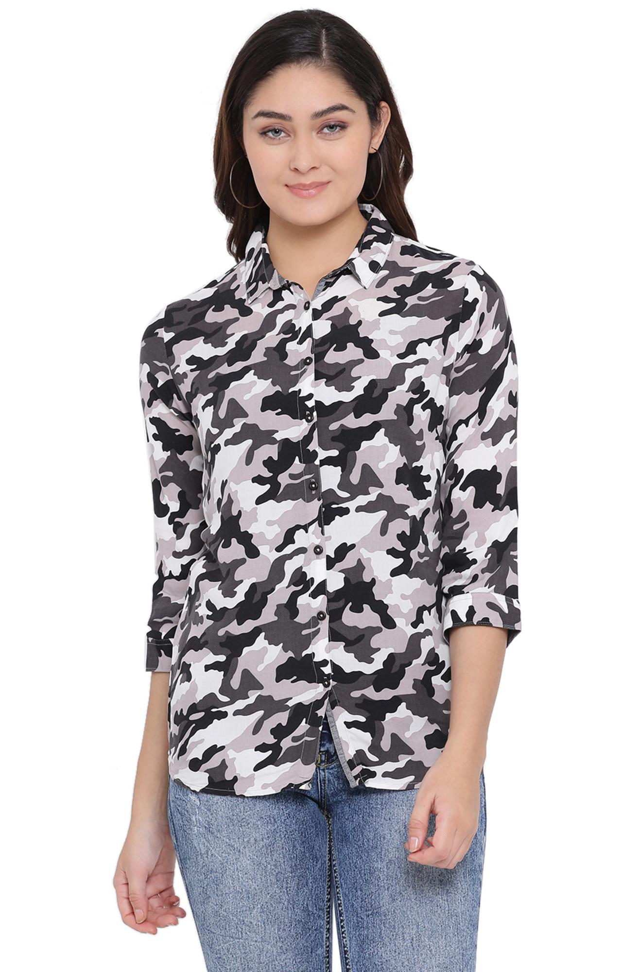 Crimsoune Club | Black Camouflage Casual Shirt