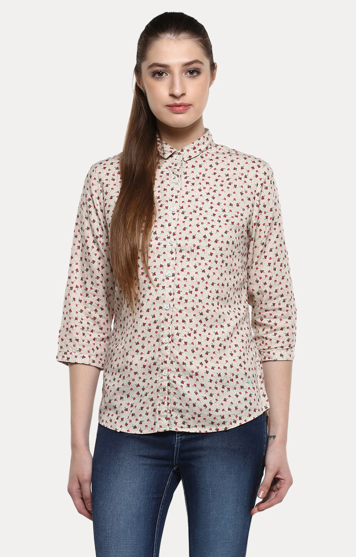 Crimsoune Club | Beige and Red Printed Casual Shirt