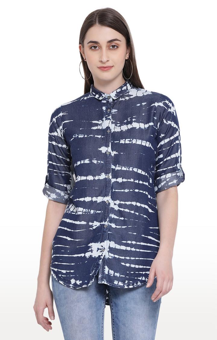 Crimsoune Club | Blue Printed Casual Shirt