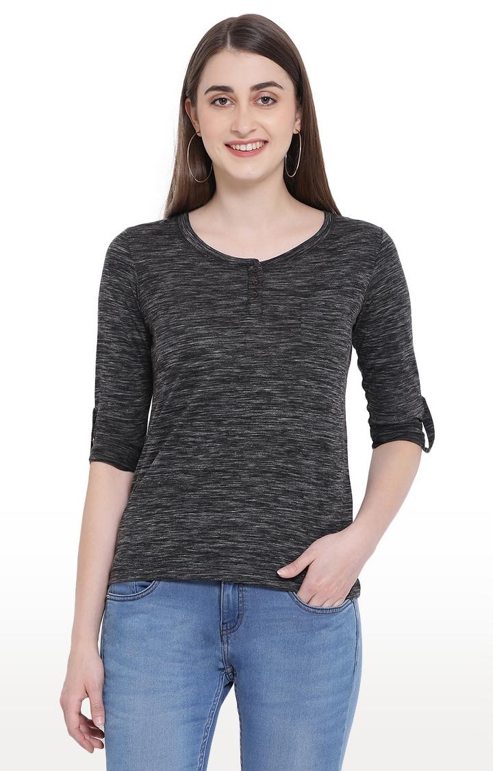 Crimsoune Club | Black Melange Casual Shirt