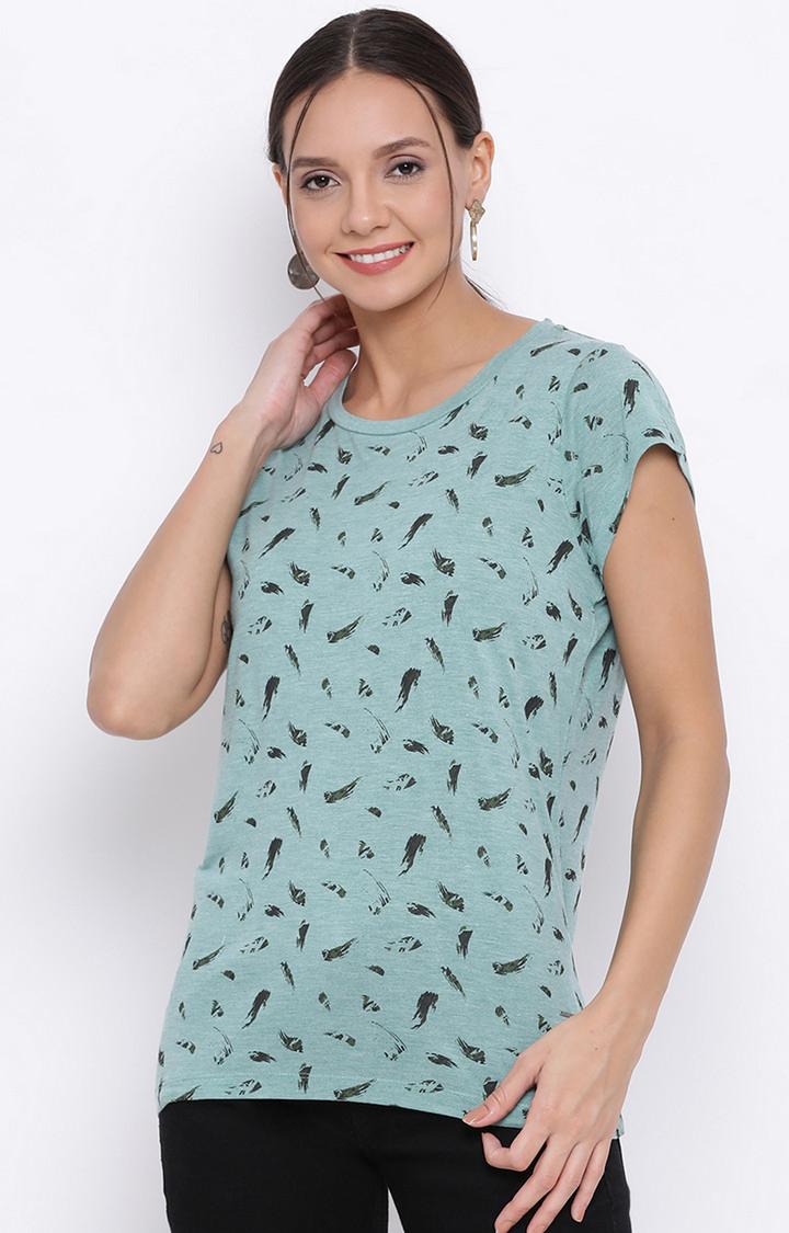 Crimsoune Club | Green Printed T-Shirt