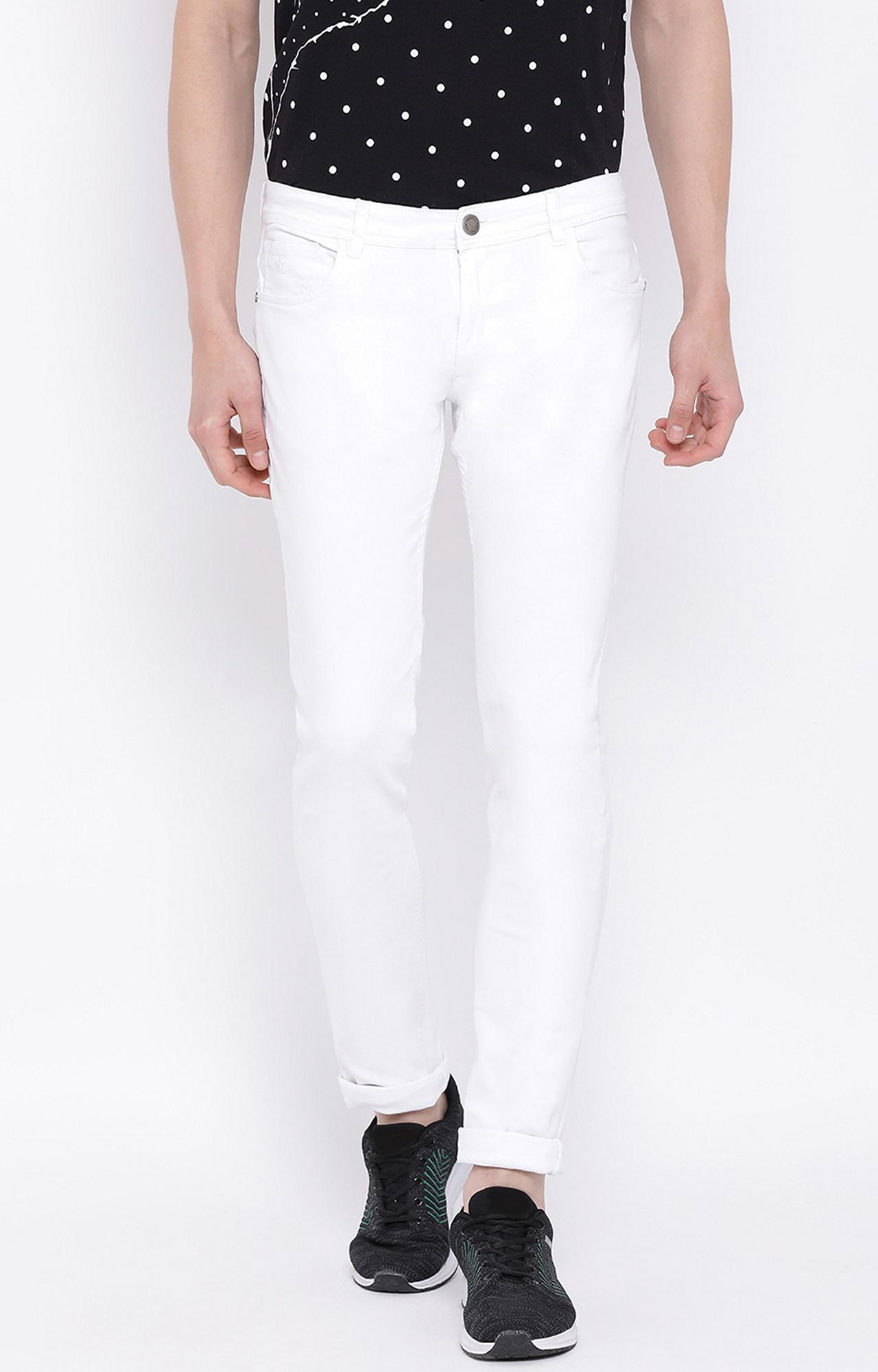 Crimsoune Club | White Solid Slim Fit Jeans