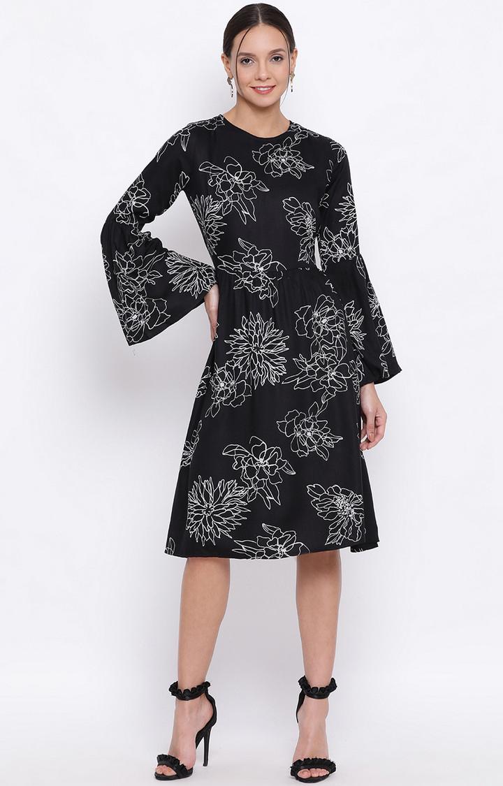 Crimsoune Club | Black Printed Shift Dress