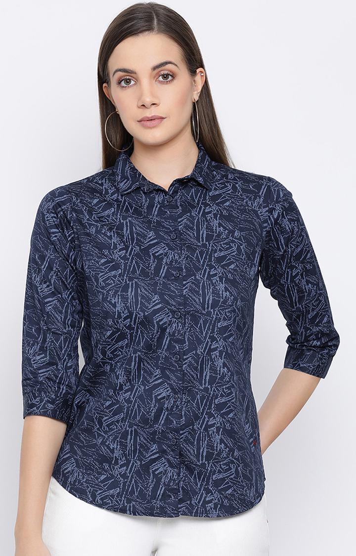 Crimsoune Club | Navy Printed Casual Shirt