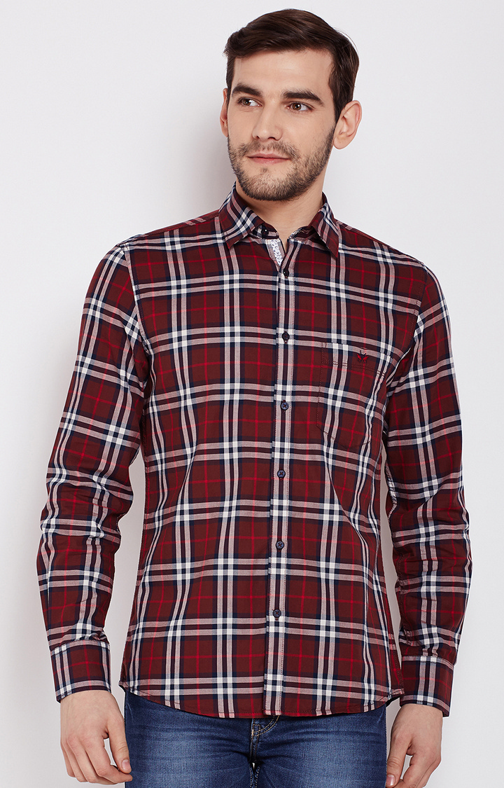Crimsoune Club | Red Checked Casual Shirt