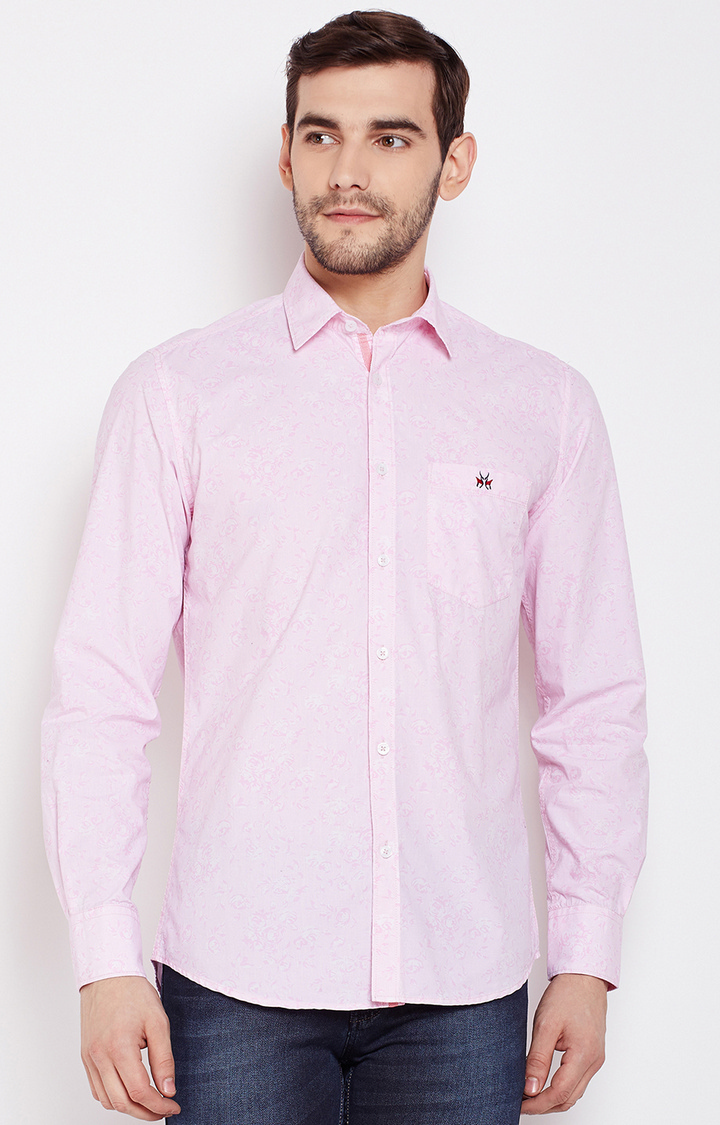 Crimsoune Club | Pink Printed Casual Shirt