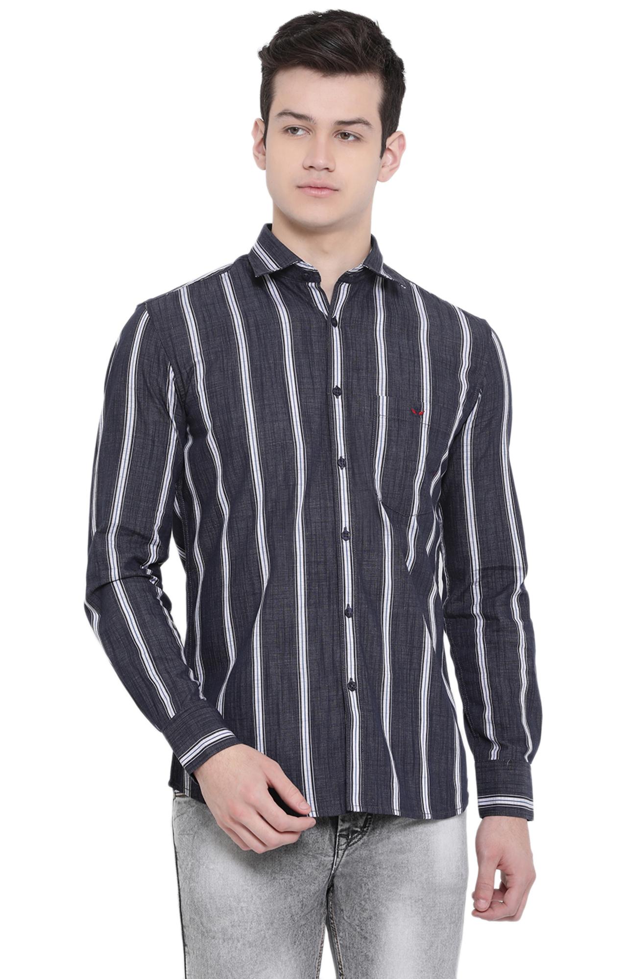 Crimsoune Club | Blue Striped Casual Shirt