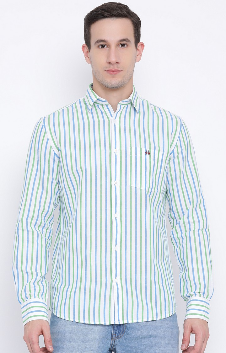Crimsoune Club | Green and Blue Striped Casual Shirt