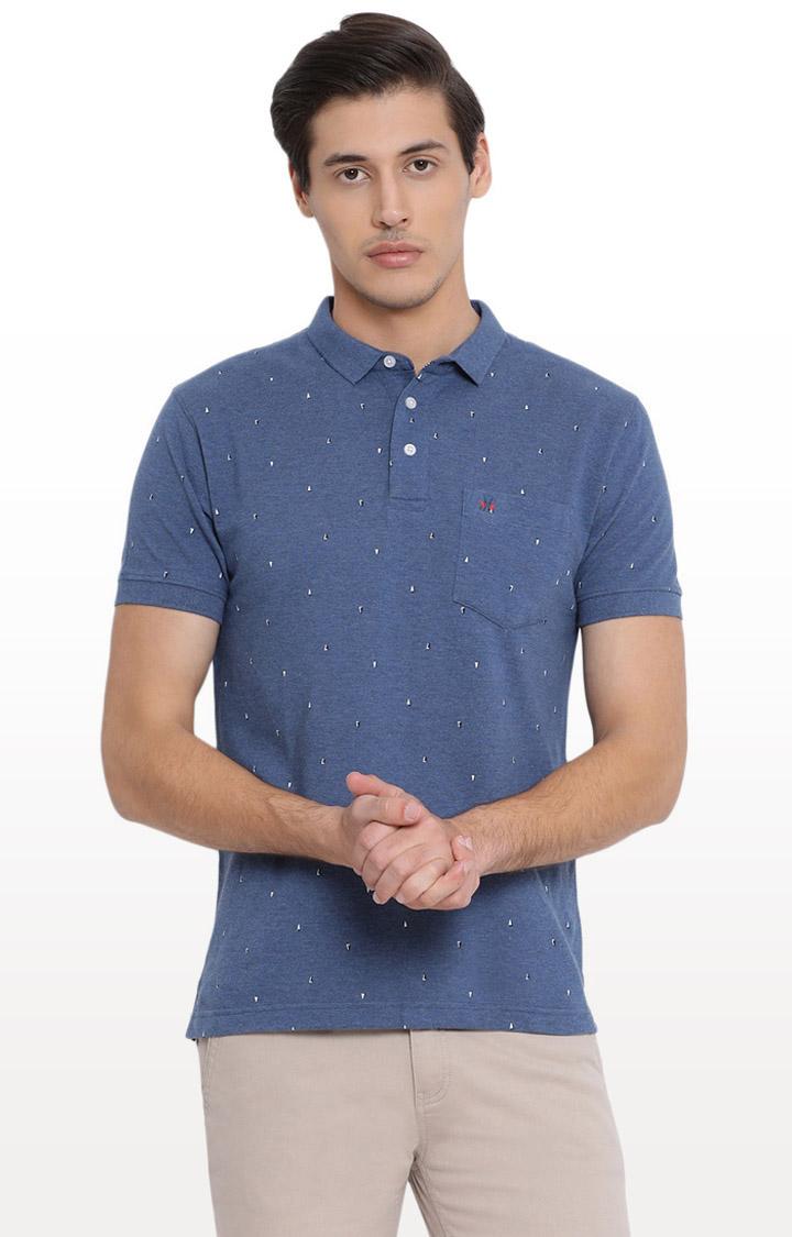 Crimsoune Club | Blue Printed Polo T-Shirt