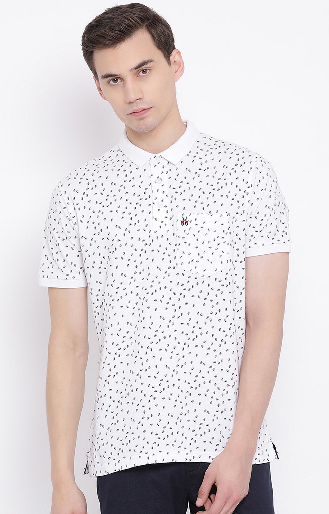 Crimsoune Club   White Printed Polo T-Shirt