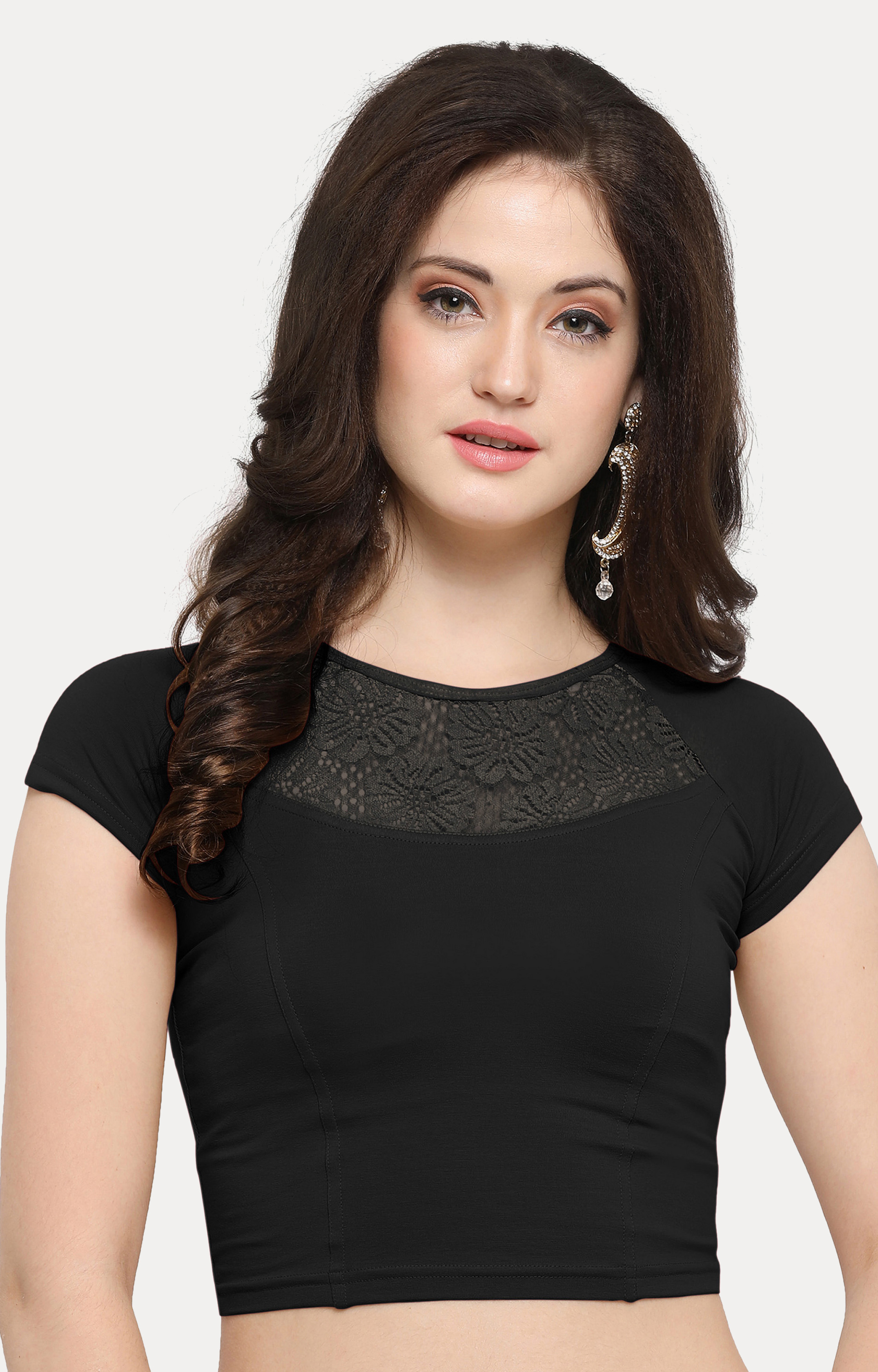 Janasya   Black Solid Blouse