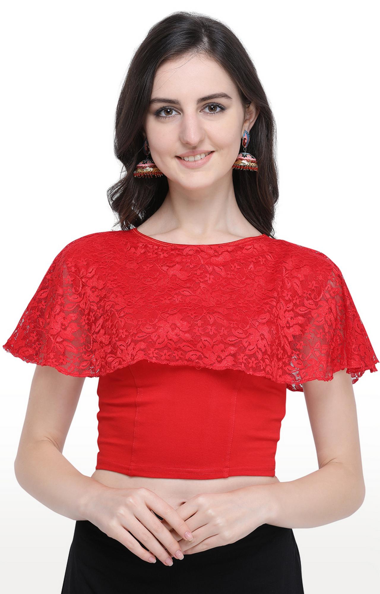 Janasya | Red Printed Cotton Lycra Stitch Blouse