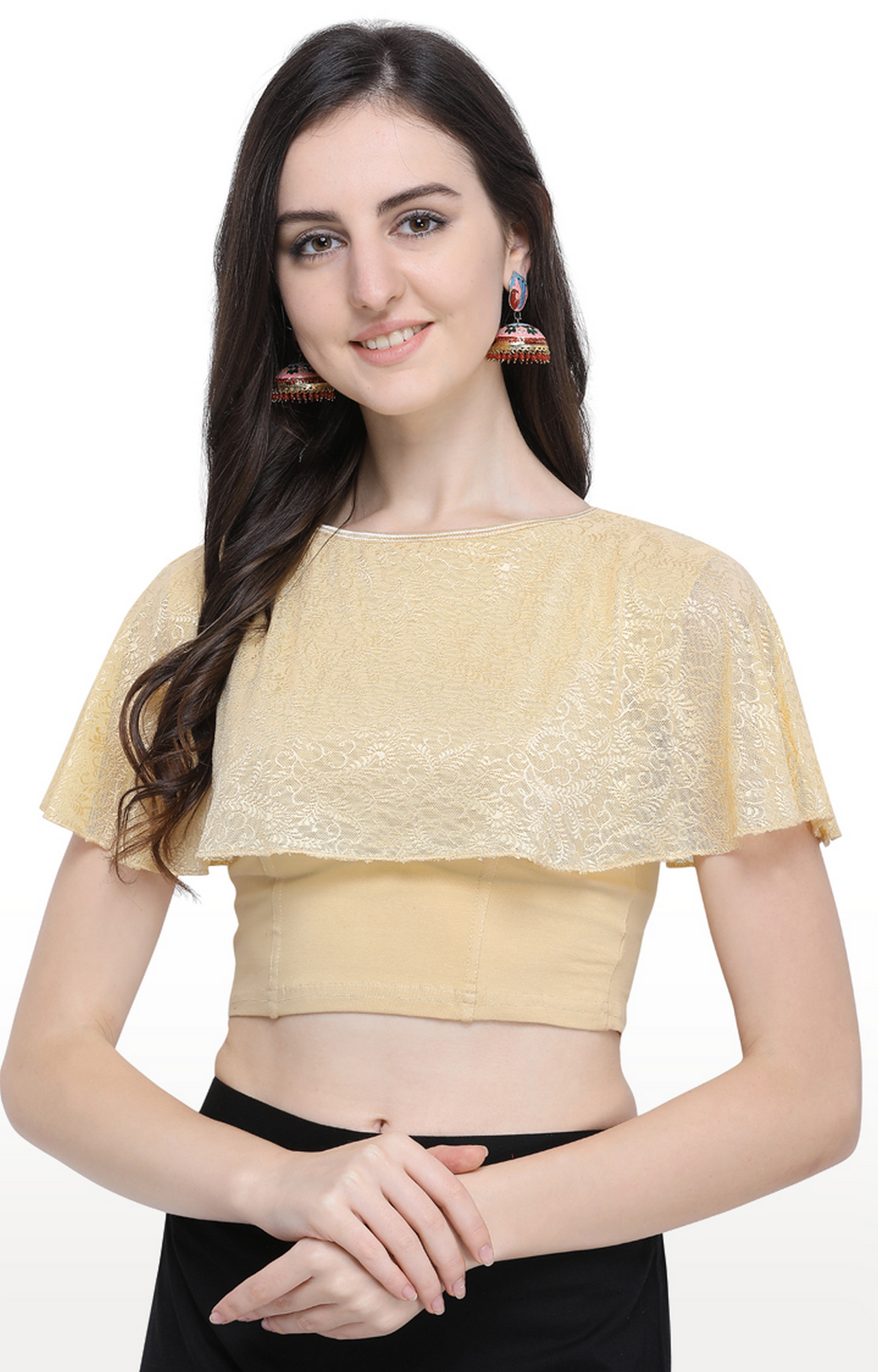 Janasya | Beige Printed Cotton Lycra Stitch Blouse