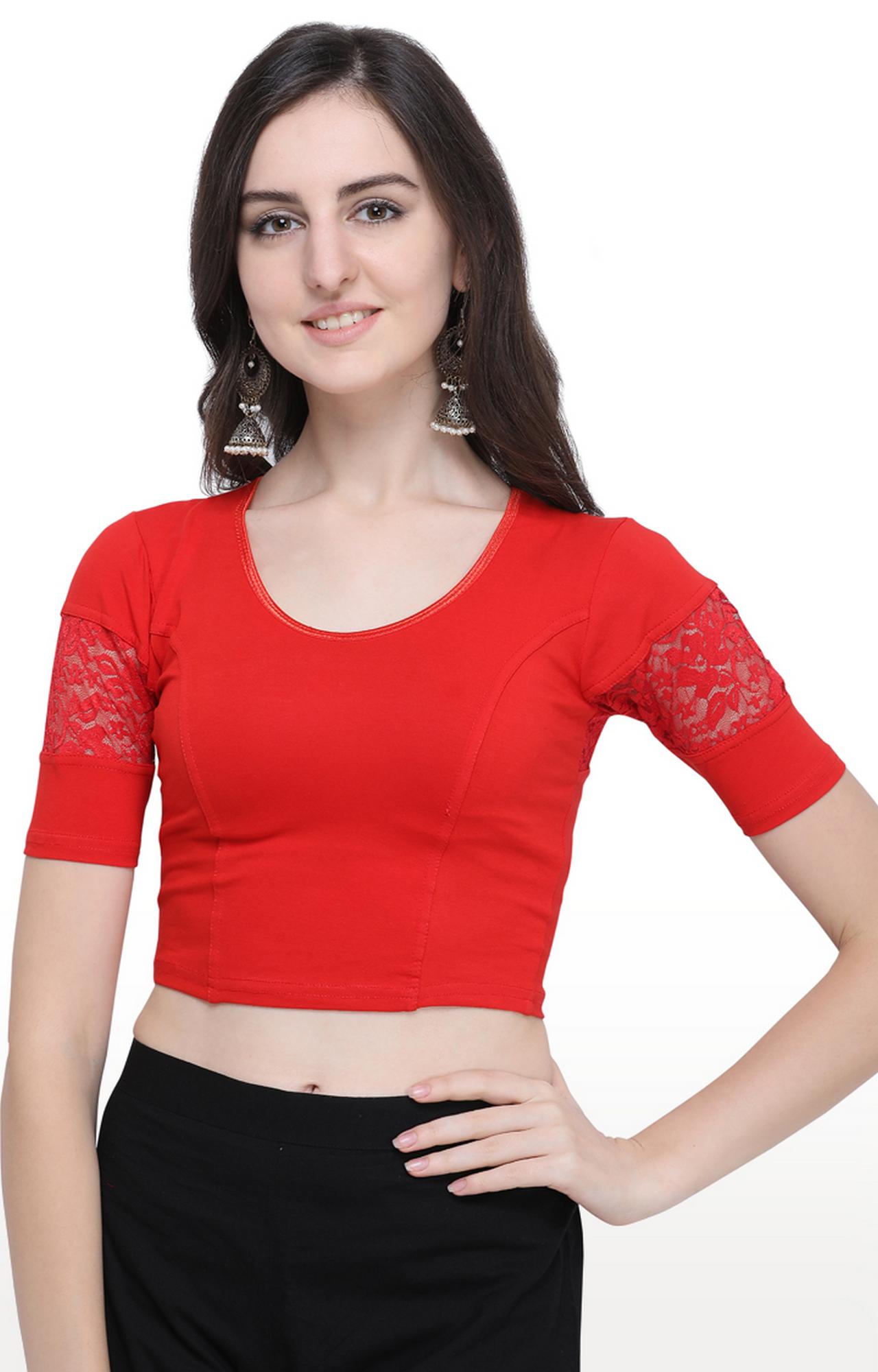 Janasya | Red Solid Cotton Lycra Stitch Blouse