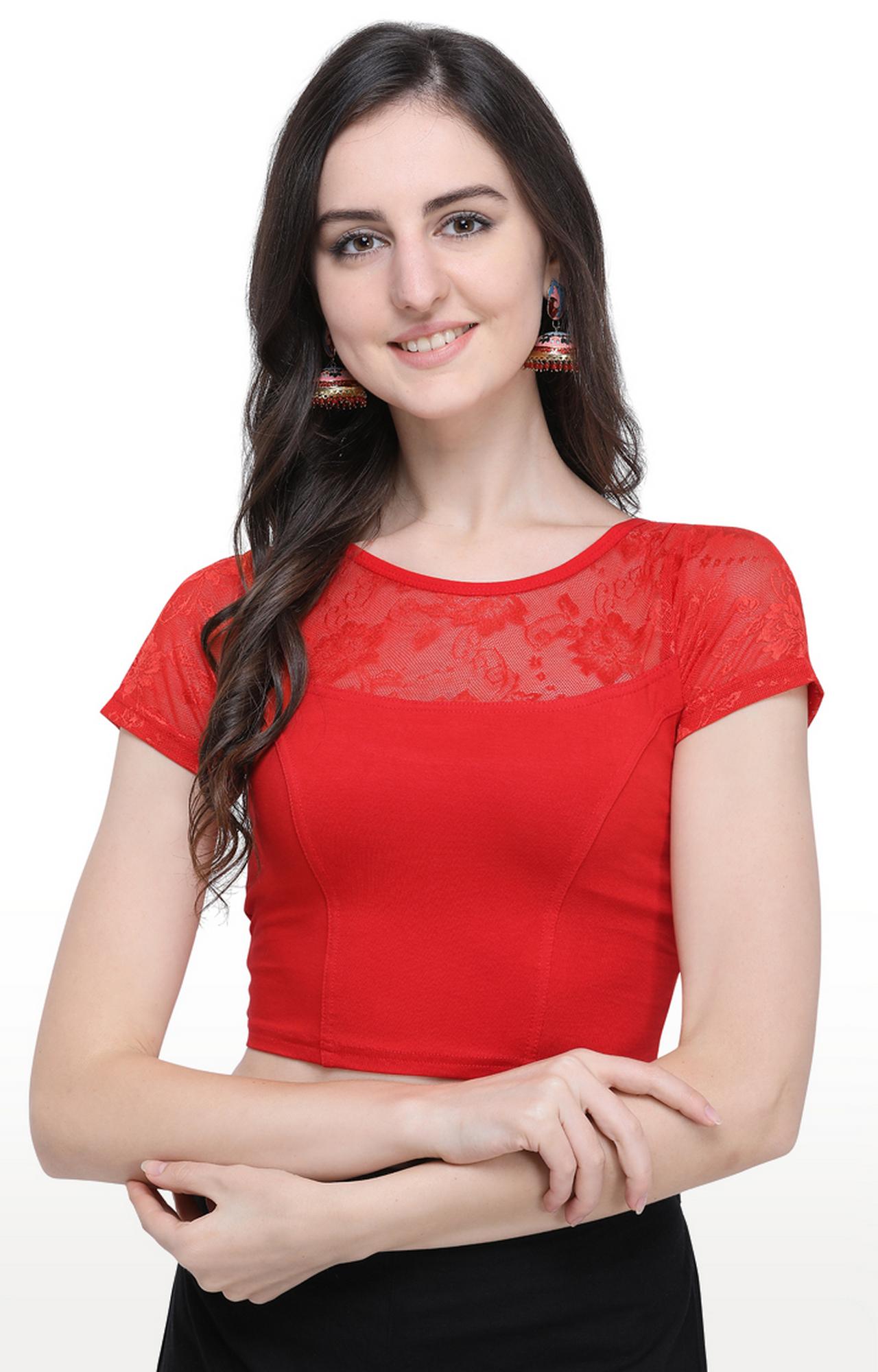 Janasya   Red Solid Cotton Lycra Stitch Blouse