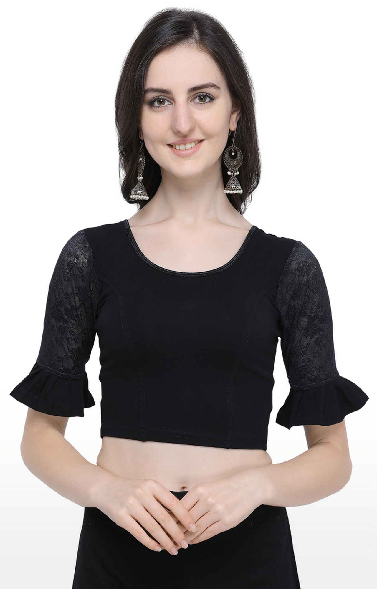 Janasya | Black Solid Cotton Lycra Stitch Blouse
