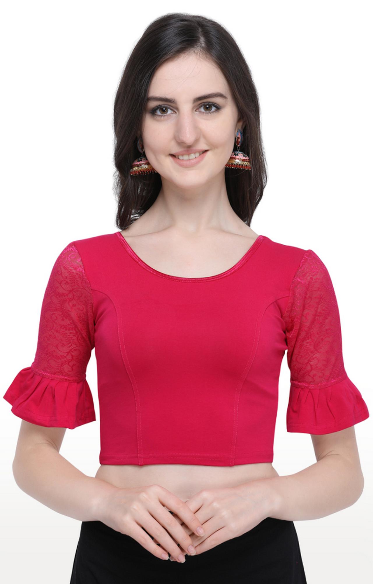 Janasya | Pink Solid Cotton Lycra Stitch Blouse