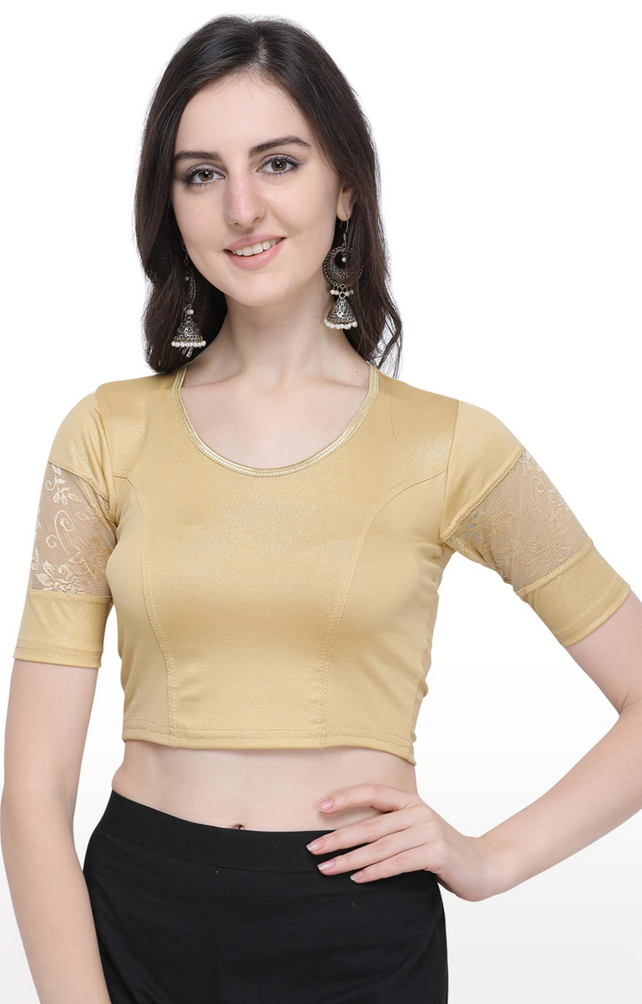 Janasya   Gold Solid Cotton Lycra Stitch Blouse