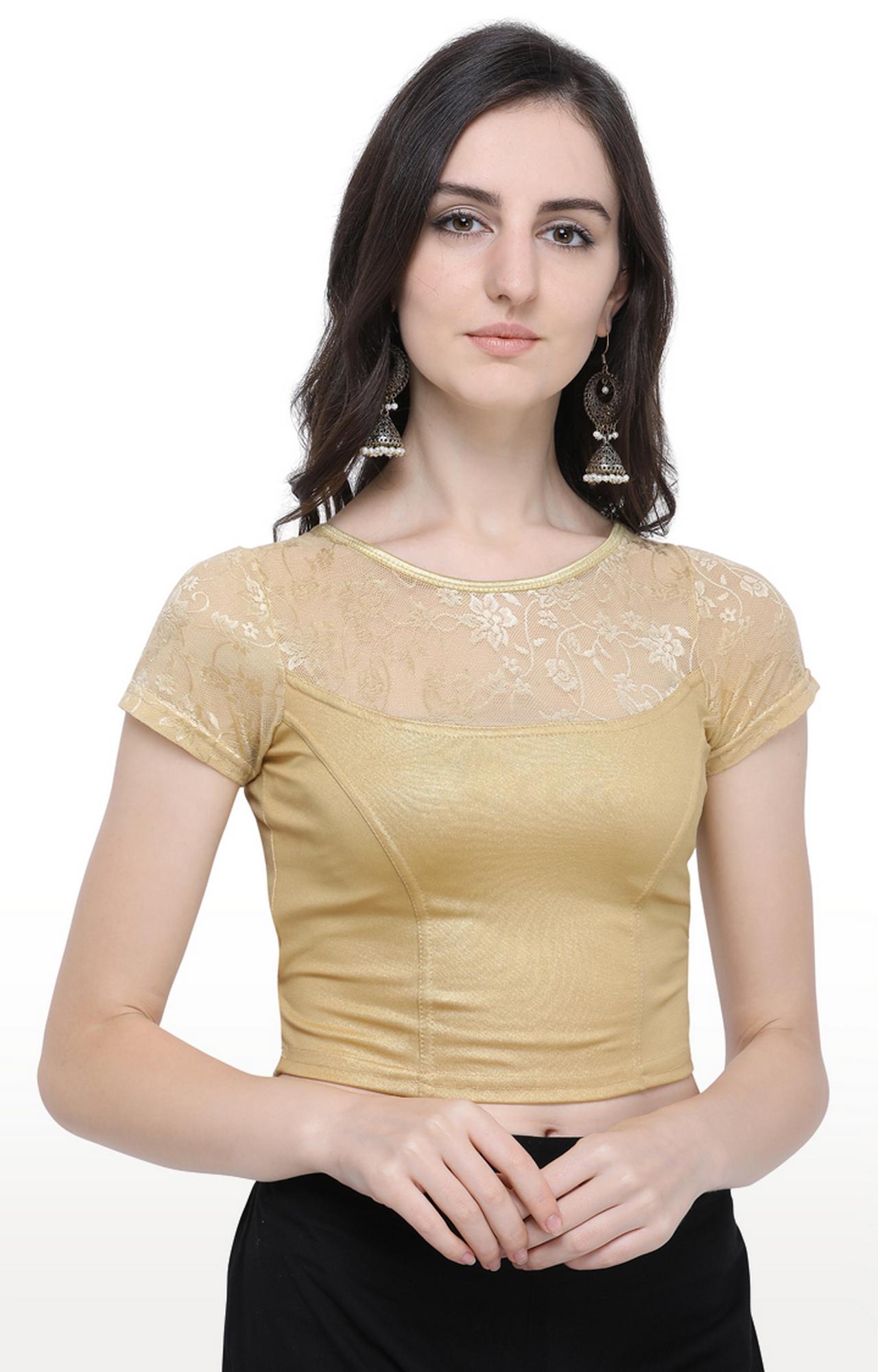 Janasya | Gold Printed Cotton Lycra Stitch Blouse