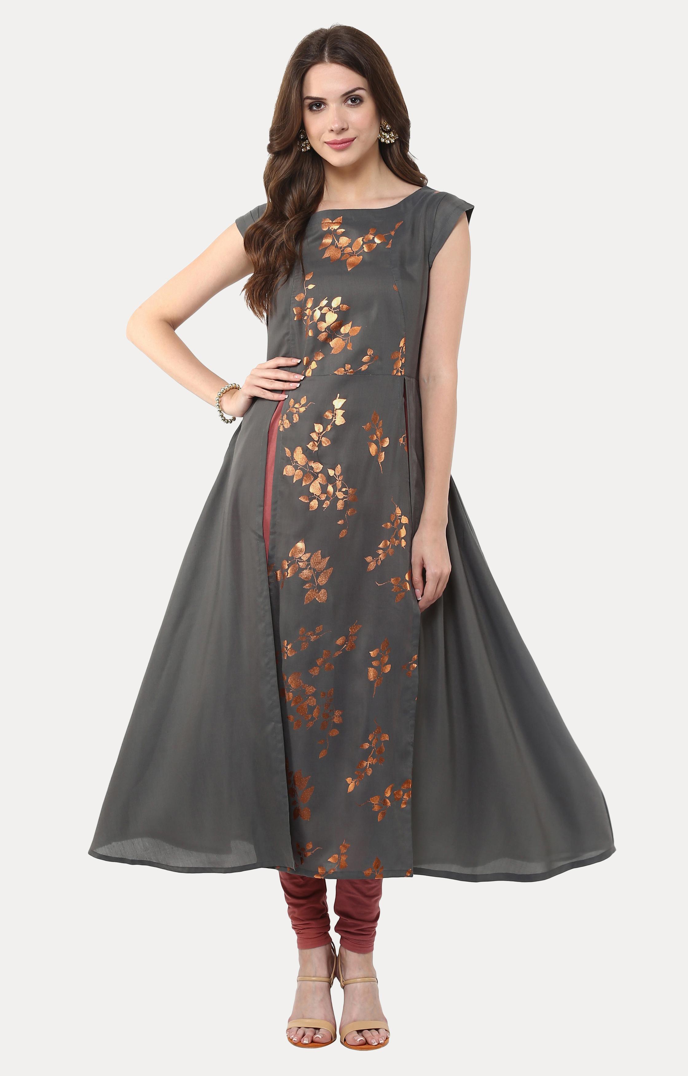 Janasya | Grey Printed Anarkali