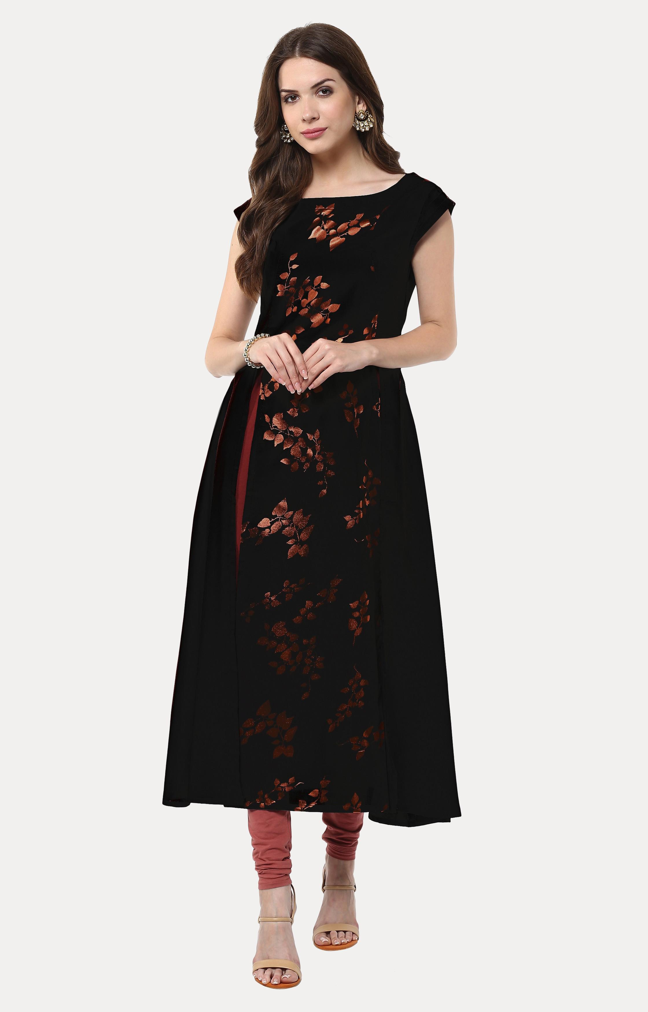 Janasya | Black Printed Anarkali