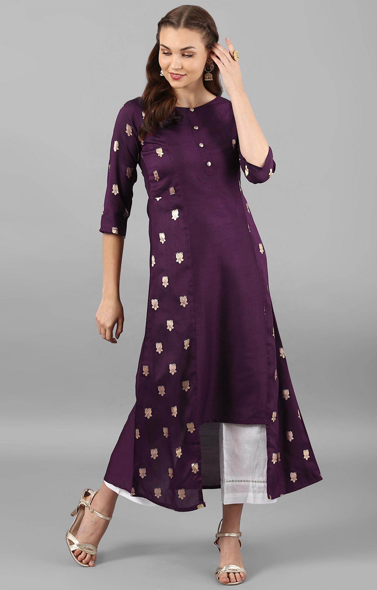 Janasya | Purple Printed Asymmetric Kurta