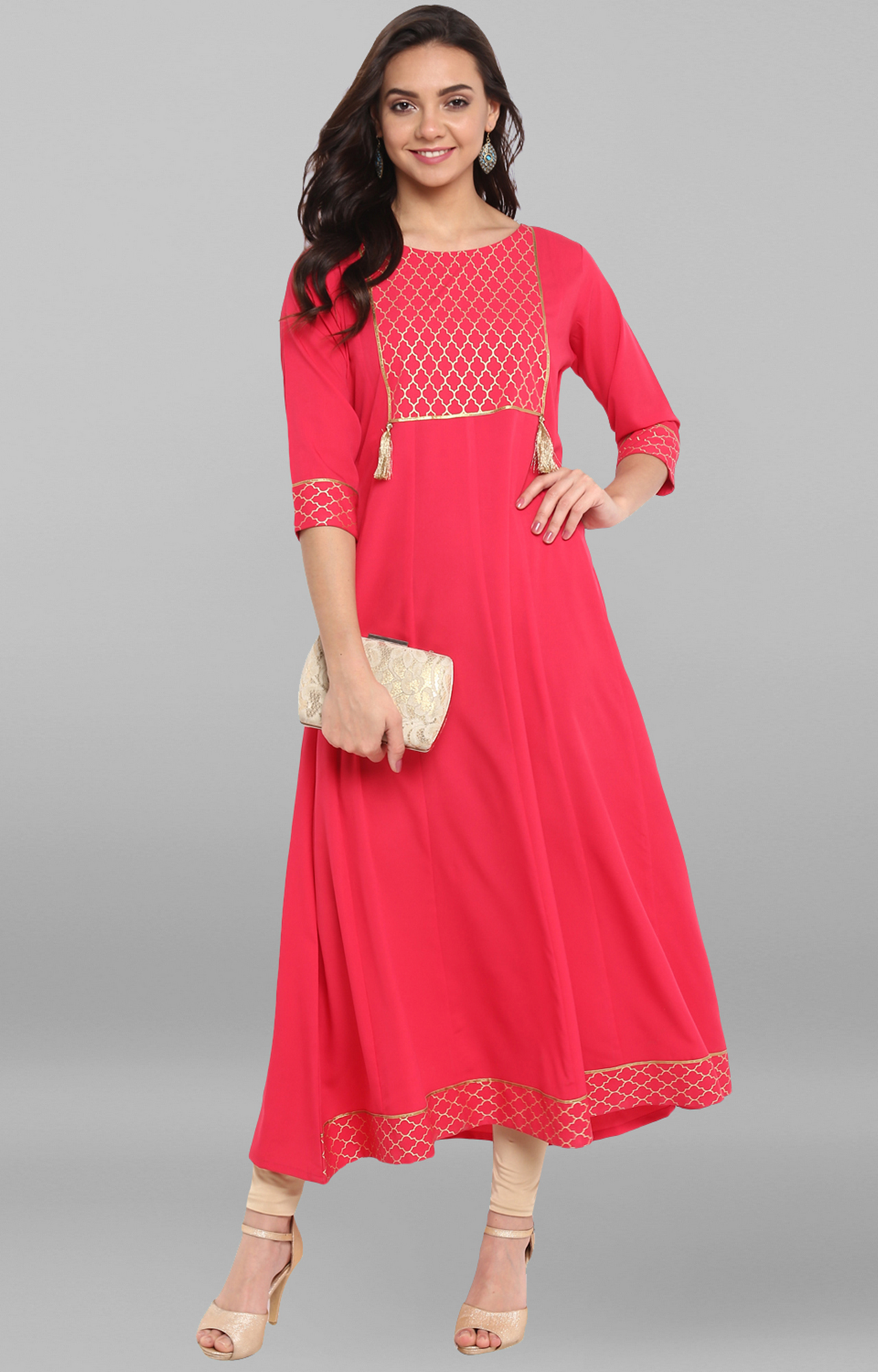 Janasya | Pink Printed Kurta