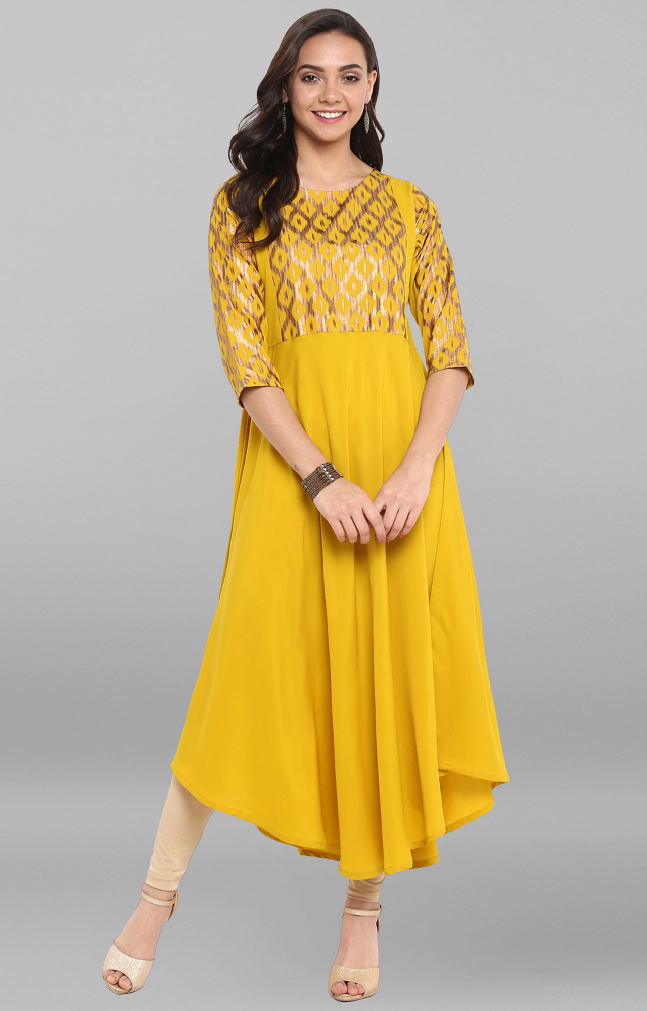 Janasya | Yellow Printed Asymmetric Kurta