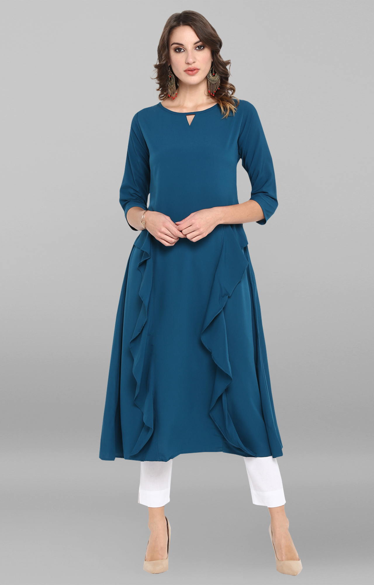 Janasya | Turquoise Solid Polyester Crepe Ruffle Anarkali
