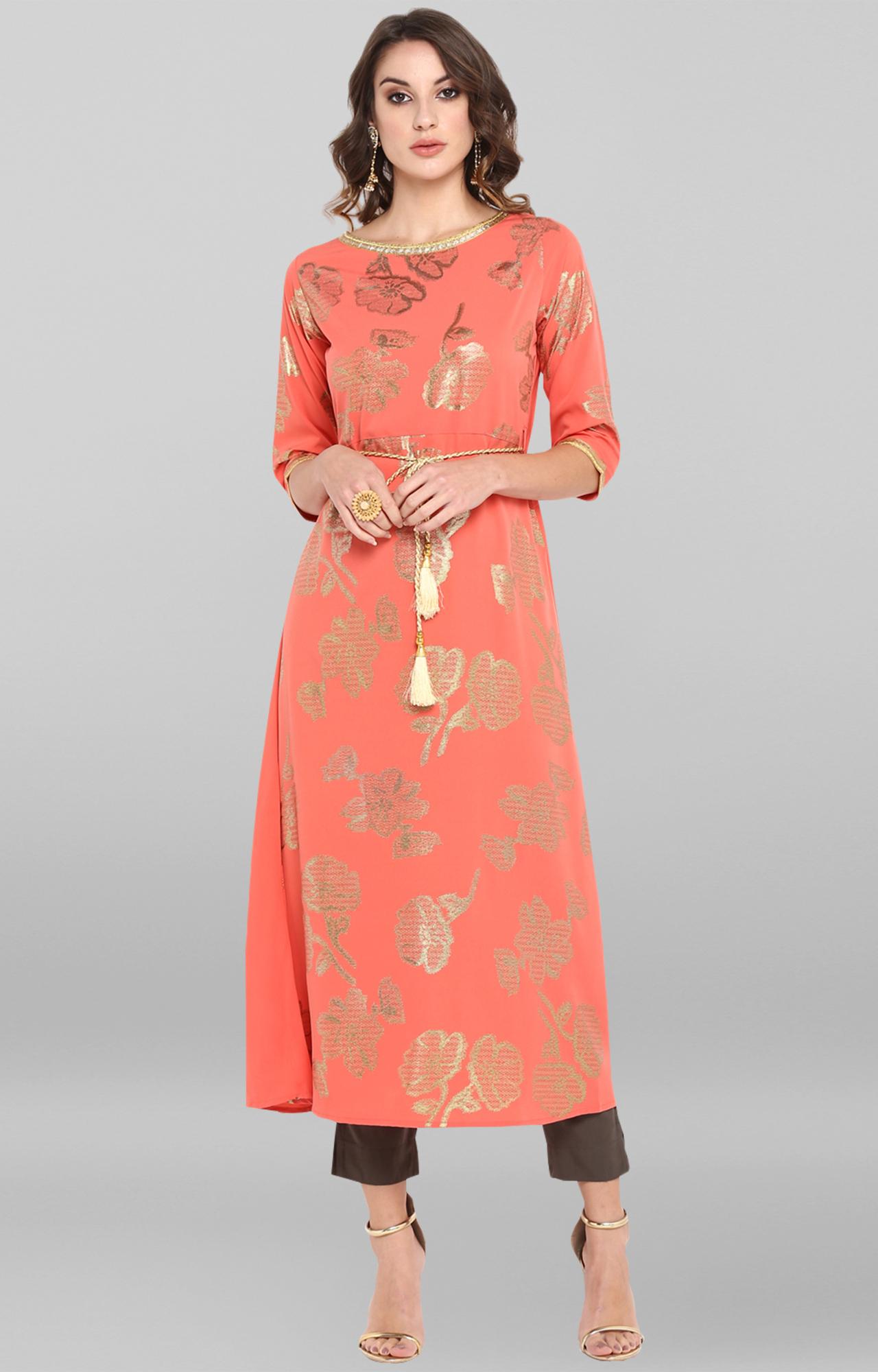Janasya | Pink Printed Polyester Crepe Anarkali